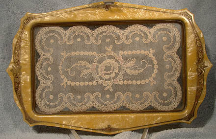 AUSCO GILT CELLULOID DRESSER TRAY with LACE c1910-20
