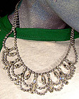 JAY KEL STERLING AND RHINESTONE COLLAR c1950s