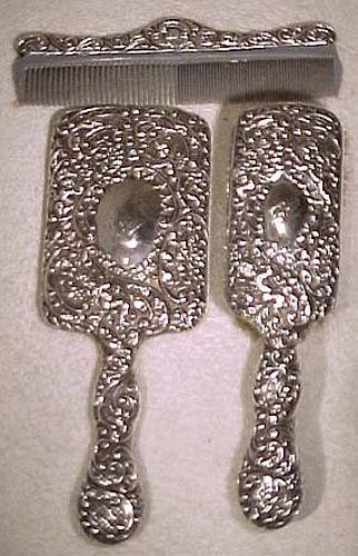 STERLING SILVER CHERUBS BRUSH MIRROR & COMB SET 1890 to 1900