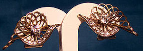 1930s FRENCH GILT STERLING RHINESTONE EARRINGS