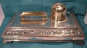 Ornate Victorian SP Ink Stand with Pot, Drawer & Pen Rest 1860