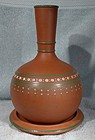 19thC ENGLISH TERRACOTTA ENAMELLED WINE CARAFE & SLIDE
