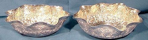 PAIR LUCKNOW SILVER SWEETMEAT BONBON BOWLS 1890 Ornate