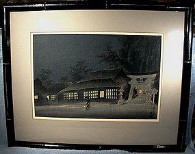 Eiichi Kotozuka NIGHT RAIN IN RAKUHOKU WOODBLOCK PRINT