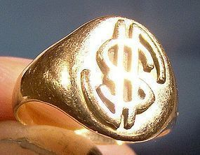 10K GOLD SIGNET RING with Stylized LETTERS c1900-10