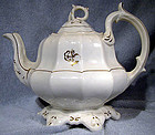 IRONSTONE TEA or TOBACCO LEAF TEAPOT & 8 PETIT FOUR PLATES 1860s