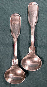 Pair ALBERT COLES COIN SILVER MASTER SALT SPOONS