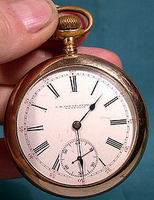 C.M. VON VALKENBURG PETROLIA GF POCKET WATCH 1900