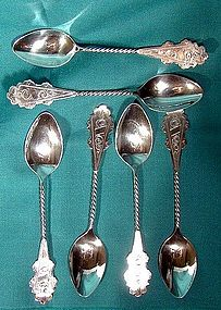 Set of 6 DUTCH SILVER ENGRAVED COFFEE SPOONS
