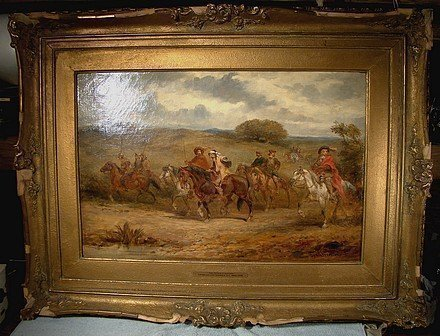 CHARLES CATTERMOLE THE PATROL'S RETURN OIL PAINTING