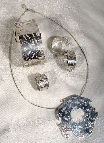 Birks ESTY ACQUATIKA Sterling Silver Set w/Box 4 Pc