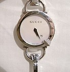 GUCCI CHIODO 122 YA122505 DIAMONDS STAINLESS LADY'S WRIST WATCH & BOX