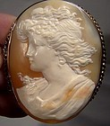 19thC 12K Gold LADY PORTRAIT CAMEO Brooch