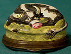 Rare BILSTON ENAMEL COW PATCHBOX with FLORAL 1770 - 1790