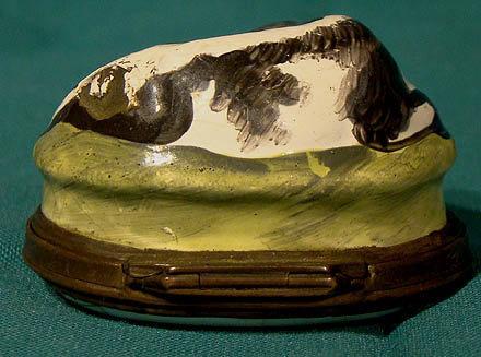 Rare BILSTON ENAMEL COW PATCHBOX with FLORAL 1770 - 1790