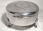 Birks Sterling Silver Footed Jewel and Ring Box 1935 G Monogram