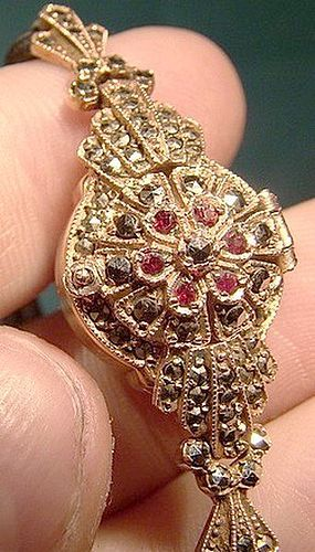 Art Deco 9K ROSE GOLD COVERED LADY'S WRIST WATCH GARNETS MARCASITES