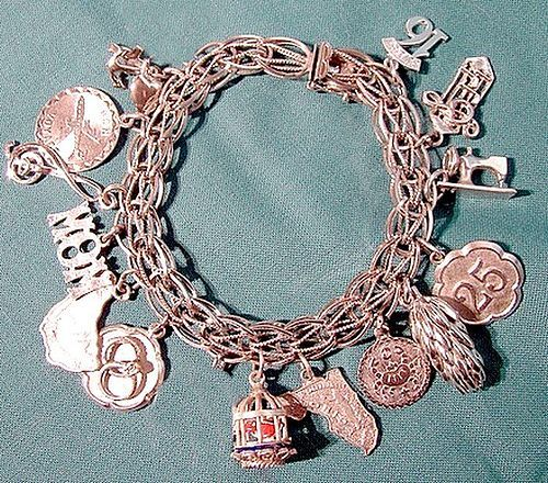 STERLING CHARM BRACELET 13 CHARMS Bird Cage Sewing Machine