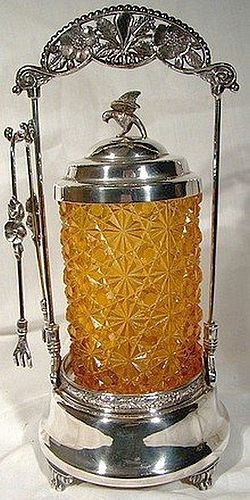 AMBER DAISY & BUTTON PICKLE CRUET w/ STAND and TONGS 1880 1890