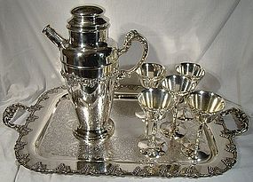 Silver plated GRAPE & VINE COCKTAIL 7 Pc. SET 1930s WITH TRAY