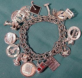 STERLING CHARM BRACELET 18 CHARMS 1960s