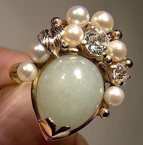 Ming's of Hawaii 14K Jade Pearls Diamonds Cocktail Ring Honolulu 14 K