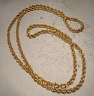 10K YELLOW GOLD ROPE TWIST CHAIN NECKLACE 1960s 24 inch 10 K