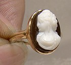14K Yellow Gold Black White Sardonyx Cameo Ring 1870s Size 3-1/2