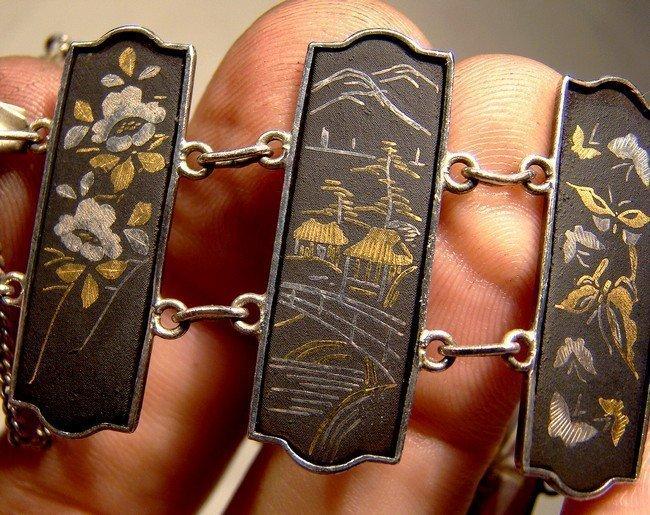 JAPAN 950 SILVER KOMAI DAMASCENE PANELS BRACELET 1900 1920