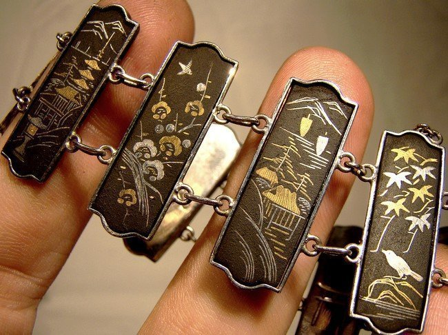 JAPAN 950 SILVER KOMAI DAMASCENE PANELS BRACELET 1900 1920