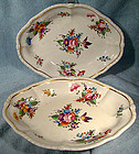 Georgian PAIR DERBY HAND PAINTED CAKE BOWLS or BASKETS 1800 - 1825