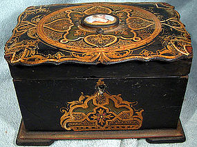 PAPIER MACHE TEA CADDY w/ PORCELAIN MINIATURE c1850-60