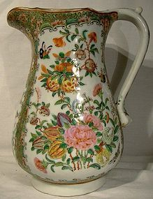 "QING DYNASTY 19thC ROSE CANTON 9"" PITCHER"