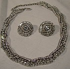 Signed TRIFARI WHITE RS NECKLACE & EARRINGS