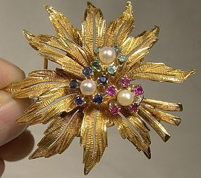 18K RUBIES SAPPHIRES EMERALDS & PEARLS Flower Spray BROOCH