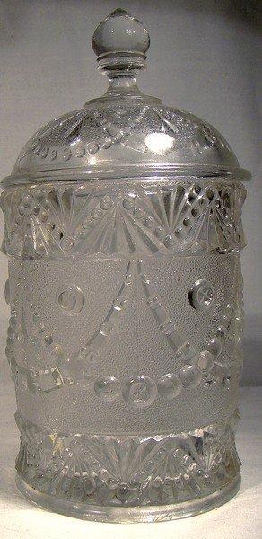 Beatty Brady Glass Co. FESTOON COVERED JAR EAPG