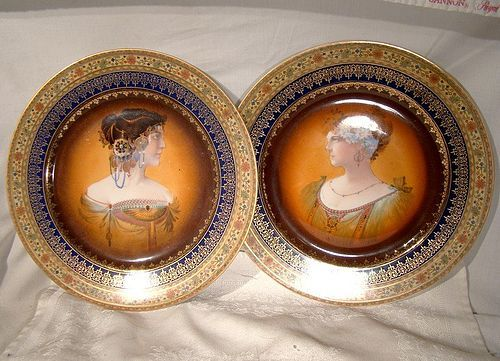 Pair Superb CZECH DECO CABINET PLATES 1920s