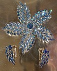 Huge CONTINENTAL BLUE Aurora Borealis Rhinestone Brooch & EARRINGS