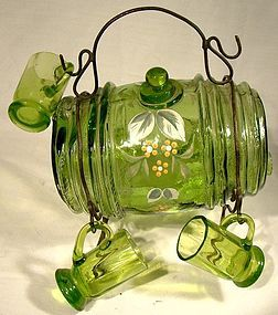Vict. Glass BARREL LIQUOR DECANTER on STAND 5 GLASSES