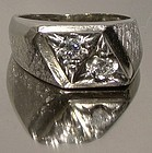 Retro Cool 14K WHITE GOLD DIAMONDS MAN'S RING 1960s