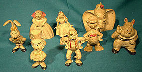 8 DISNEY Vintage 1940s HARD RUBBER FIGURES