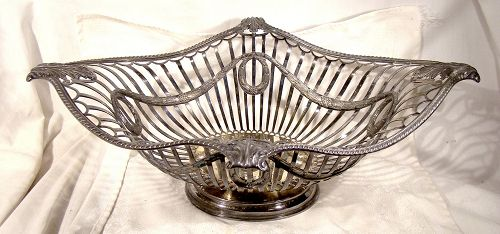 Massive Neoclassic ENGLISH STERLING SILVER CENTREPIECE BASKET 1910