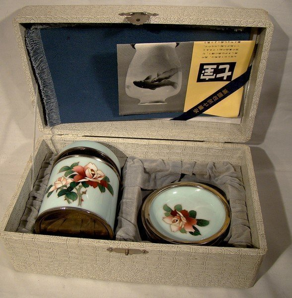 ANDO JAPANESE BOXED CLOISONNE SMOKING SET 1960s-70