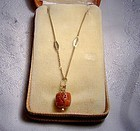 18K Red Coral Pendant Necklace in Box 1960s Uno A Erre