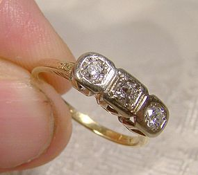 14K TRIPLE DIAMONDS ROW RING c1915