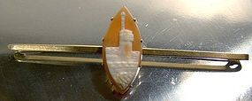 Victorian 15K BAR PIN with CASTLE TURRET SHELL CAMEO