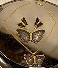 JAPAN AMITA KOMAI BUTTERFLY PIN NECKLACE & EARRINGS