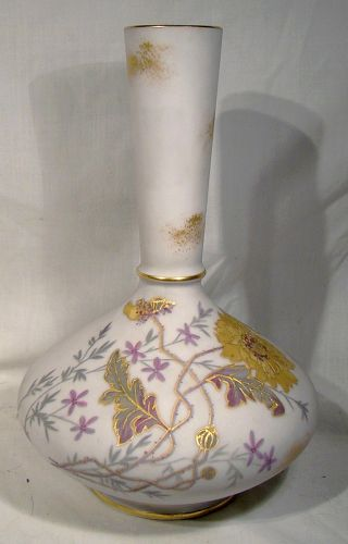 LANTERNIER LIMOGES HAND PAINTED FLORAL VASE c1900