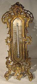 BRADLEY & HUBBARD GILT CHERUB STANDUP THERMOMETER c1900