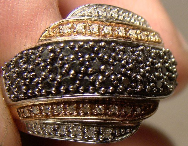 10K WHITE & ROSE GOLD RING with BLACK & WHITE DIAMONDS